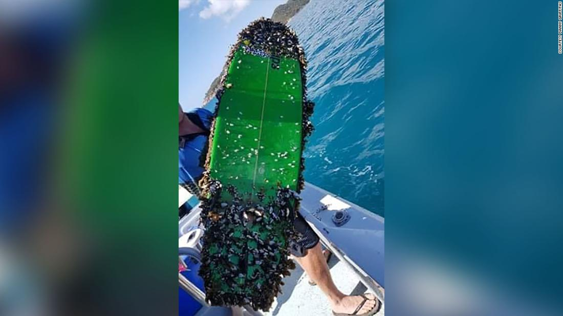 Lost surfboard turns up 1,700 miles from home