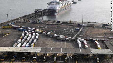 Cargo trucks in Dover heading to the European Union on 5 February 2021.