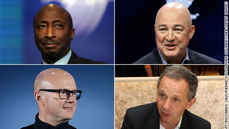 From left to right, top to bottom: Merck CEO Ken Frazier, Unilever CEO Alan Jope, Under Armour CEO Patrik Frisk and HP CEO Enrique Lores recently signed a letter denouncing Georgia's controversial new election integrity law. All four CEO's companies are current or past Edelman clients.