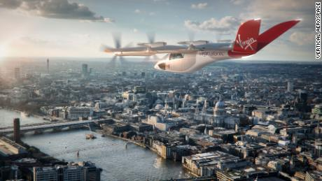 A rendering of a Virgin Atlantic-branded VA-X4 aircraft in London, supplied by Vertical Aerospace.