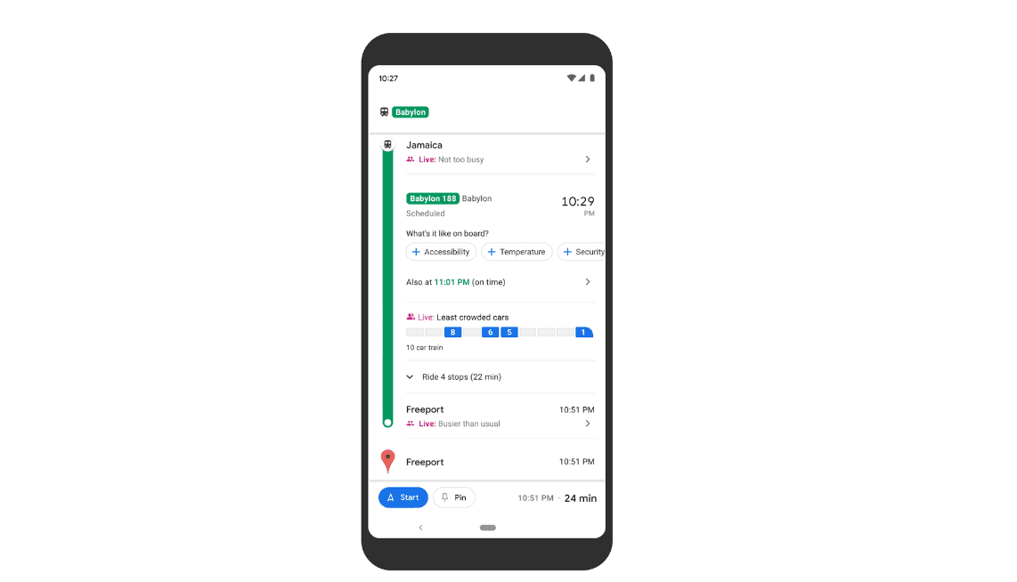 Google Maps will show you how crowded your train is