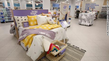 """The new bedding section at the store with Bed Bath & Beyond's private label Wild Sage brand. An executive described the old bedding area as """"dark and glooomy."""""""