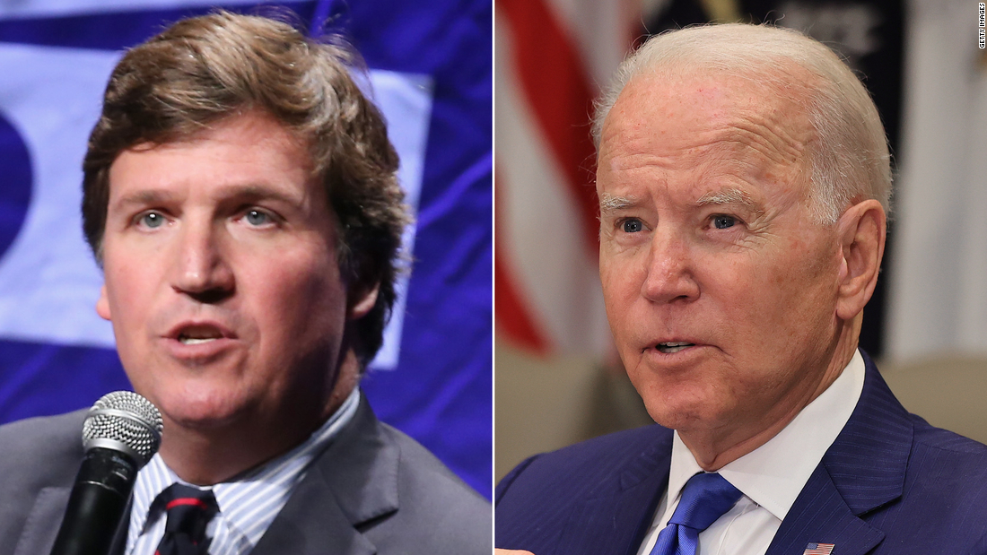 Tucker Carlson rails against vaccination campaign at the same time Biden credits Fox