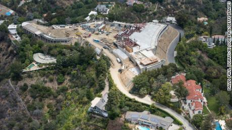 Early construction of the mega mansion built by Nile Niami, in Bel Air, California in May 2015.